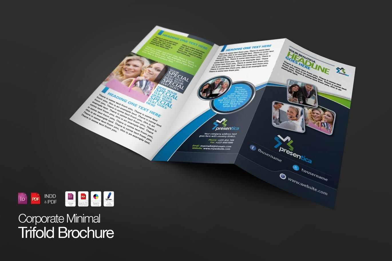TriFold Creative Corporate Brochure Template Indd  Brochure
