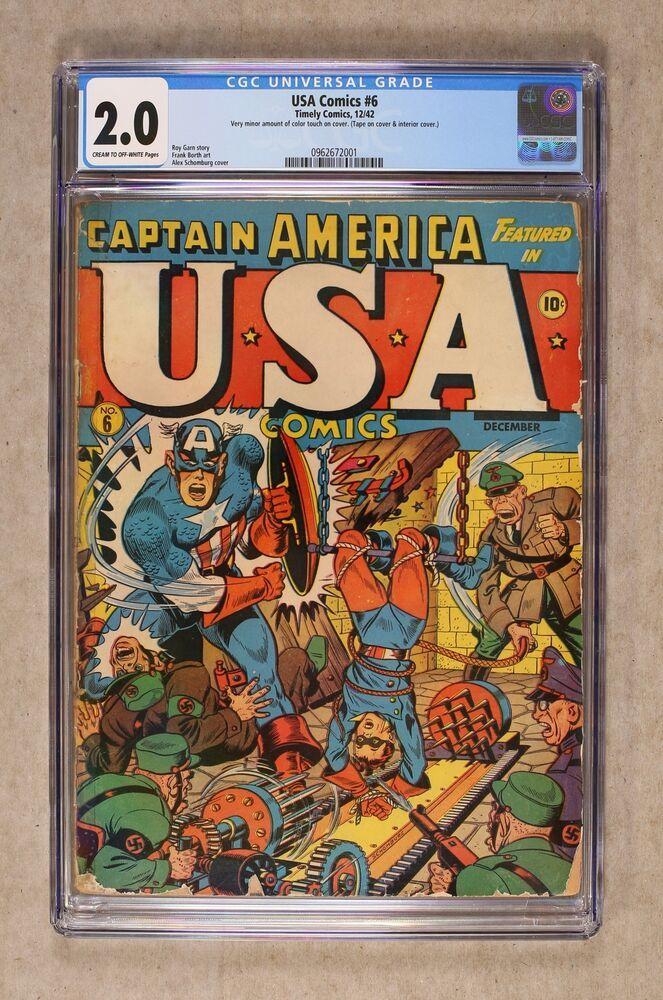 USA Comics 6 1942 CGC 2.0 0962672001 Comics, Comic