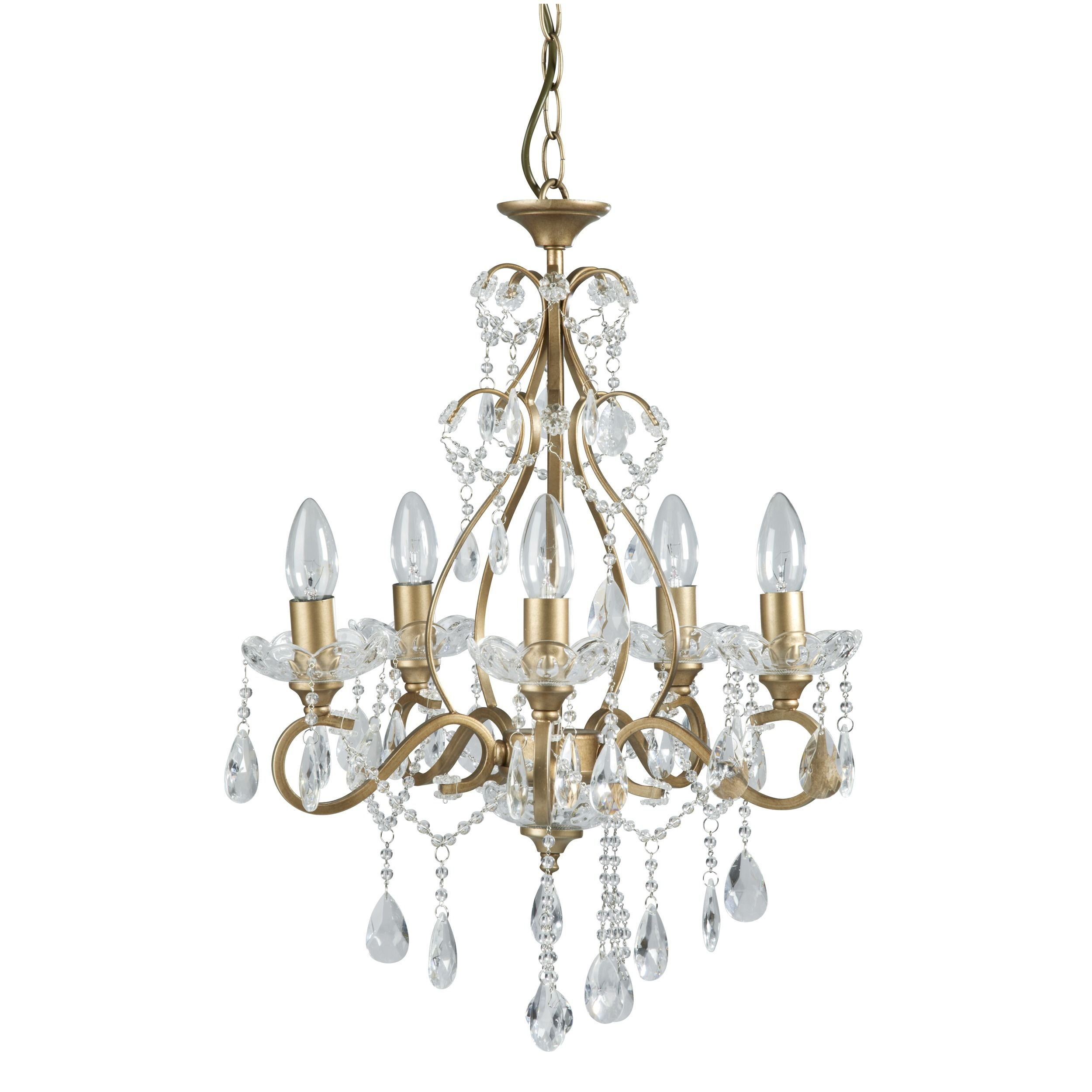 Crystal Chandelier Laura Ashley: Shamley Gold Compact 5 Arm Ceiling Chandelier At Laura
