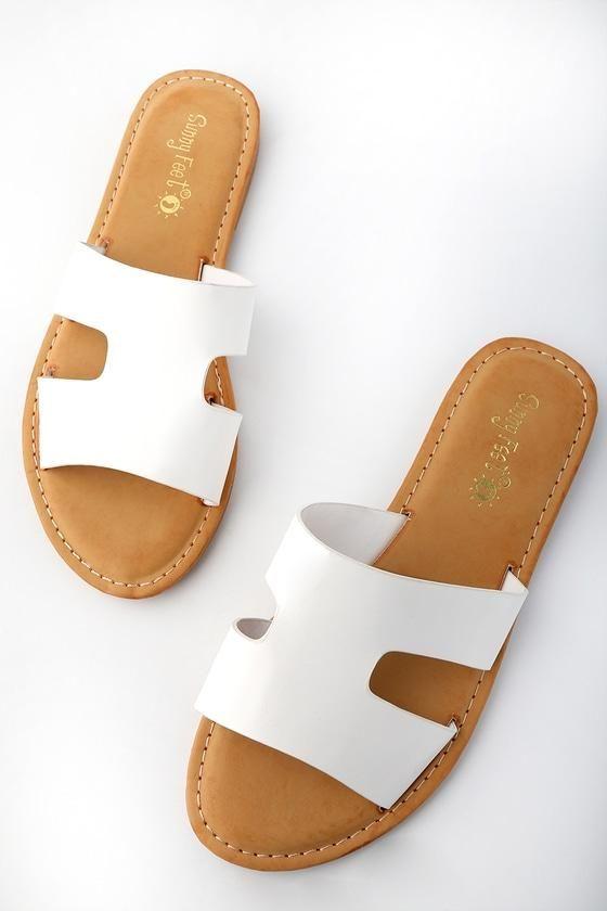 Lulus Capri Ivory Leather Slide Sandal Heels - Lulus nwUnwUCDY6