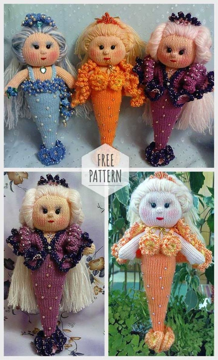 Knitting Mermaid Free Pattern #knittingpatternstoys