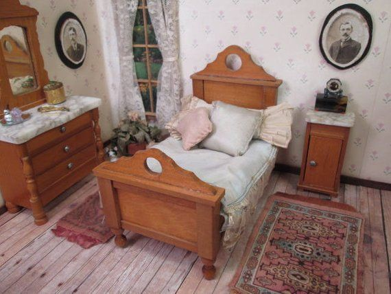 Reserved for Mary- Bed Only Schneegas Golden Oak Dollhouse Bedroom