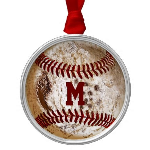 Cool Monogrammed Old Baseball Ornament with grunge designs. Type in his Jersey Number, Monogram, Initials, Short Name or Delete the text totally. CLICK:   http://www.zazzle.com/cool_monogrammed_baseball_ornaments-175833998209341574?rf=238147997806552929 See more traditional and grunge baseball gifts for guys here: http://www.zazzle.com/littlelindapinda/gifts?cg=196556138924326857&rf=238147997806552929 Call Linda for HELP or Changes to Any Design: 239-949-9090