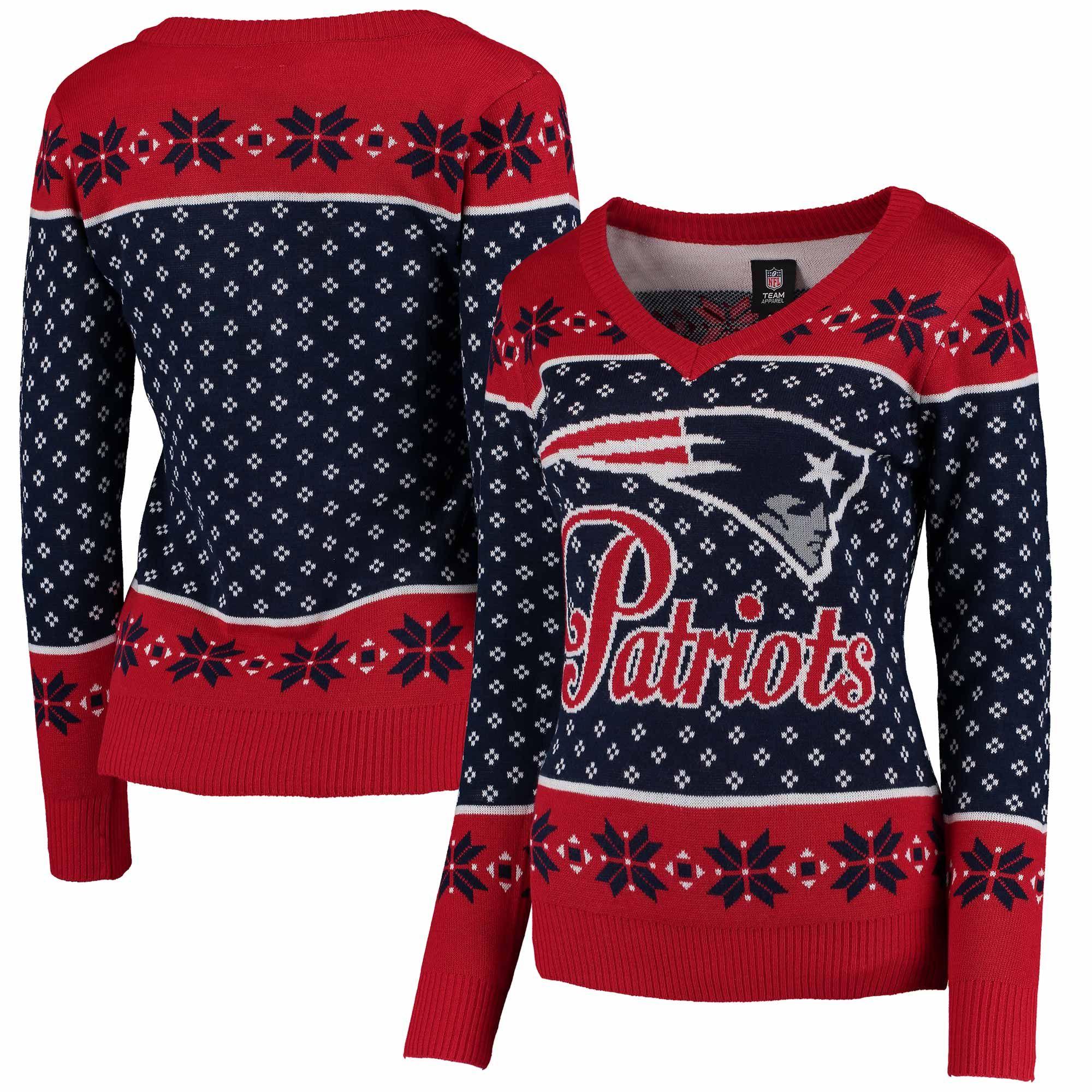 402bd98e6e1 NFL New England Patriots Klew Women s Big Logo V-Neck Sweater - Navy ...