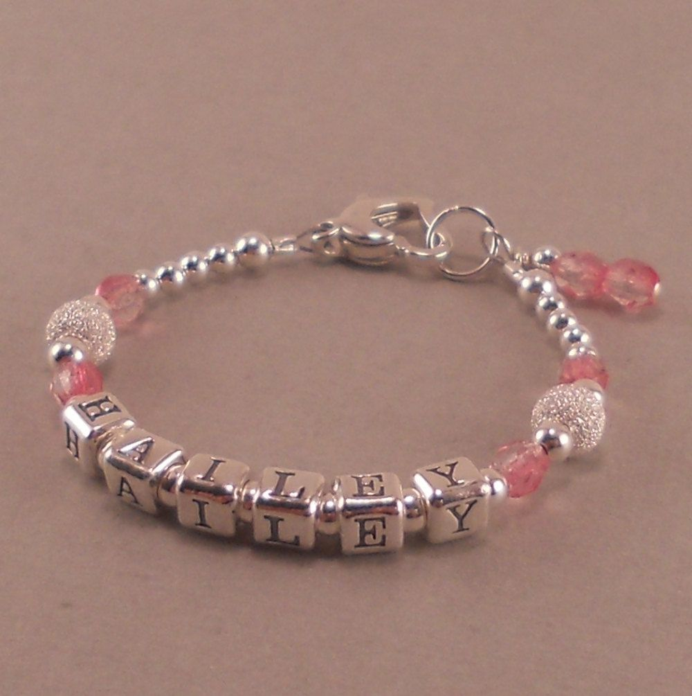 Baby Girl Gift Name Bracelet Sterling Silver First Birthday Personalized Present Pink Valentines Day Childrens Jewelry Heart 4200 Via Etsy