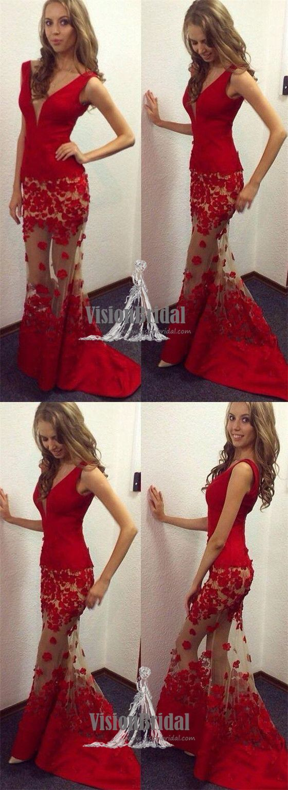Sexy red vneck mermaid prom dress with appliques charming prom