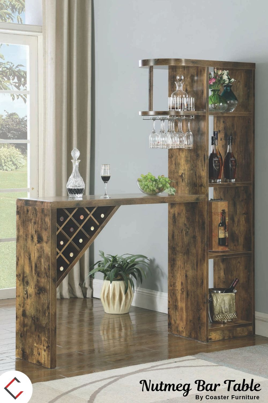 Coaster Furniture Antique Nutmeg Bar Table Luxury Decor