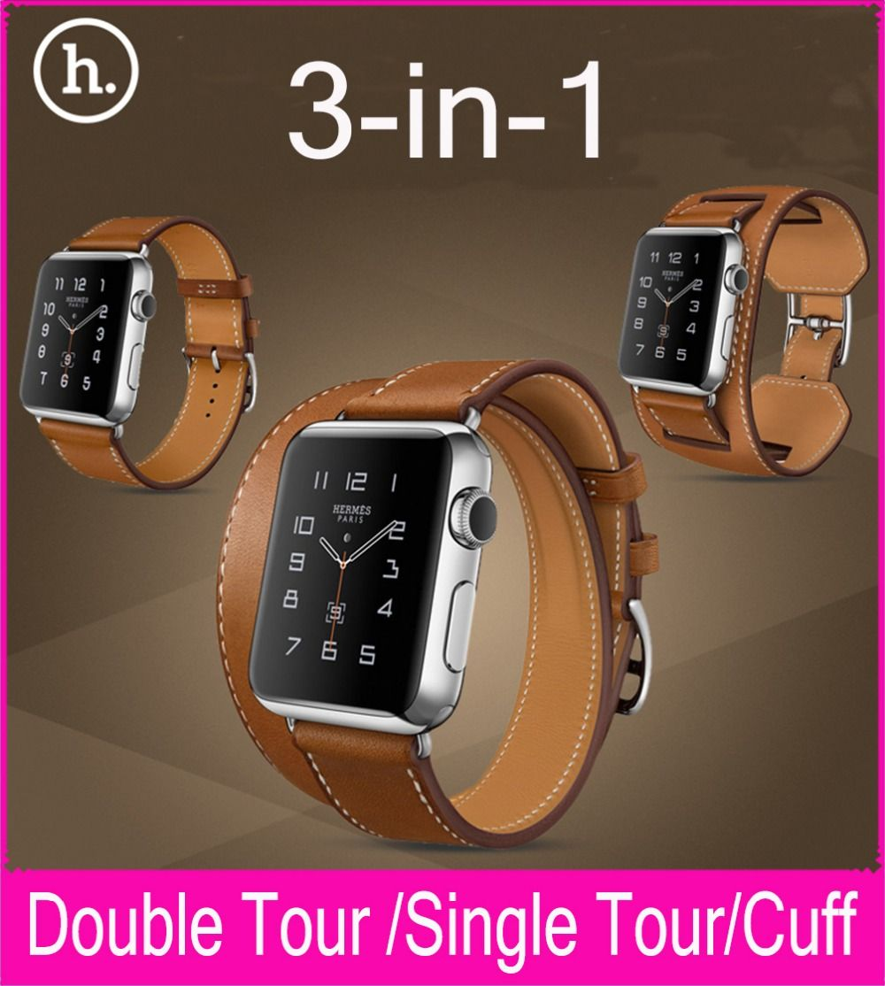 cee77ffb9b9d Hoco s Replica Apple Watch Hermès Bands. New 3 in 1 Package Single Tour  Double Tour Cuff Genuine Leather Strap