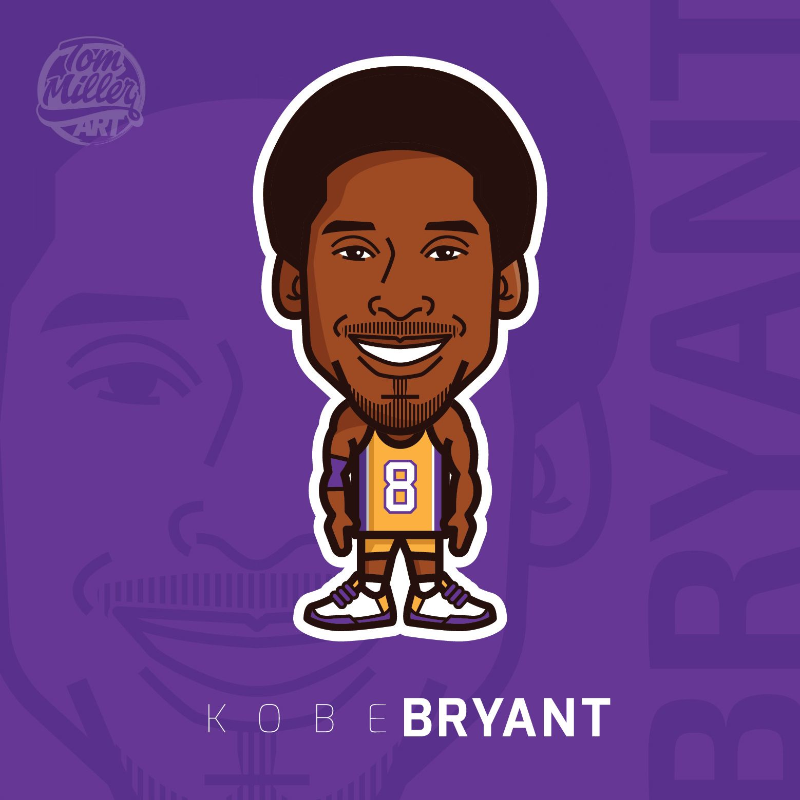 pretty nice 3f6c5 2b058 Kobe Bryant  kobe  bryant  kobebryant  blackmamba  mamba  nba  basketball   lakers  comic  cartoon  vector  tommillerart
