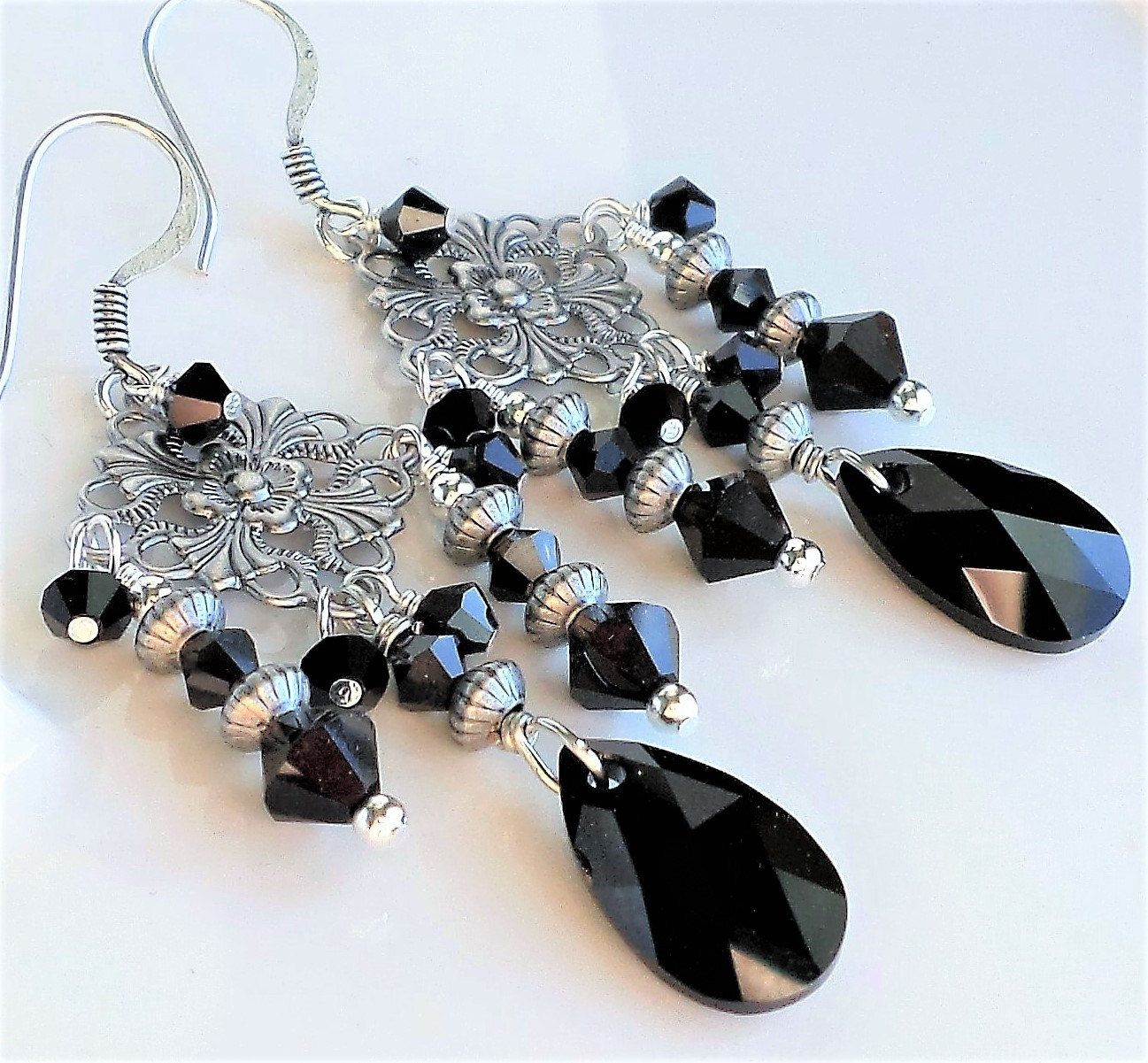Black Silver Chandelier Earrings, Antique Silver and Black Crystal ...