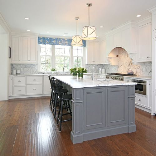 Best White Gray Island Kitchen Design Ideas Remodel Pictures 400 x 300