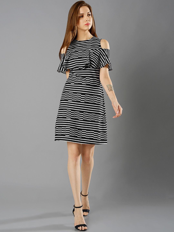 c727e6baf23 FabAlley Women Black   White Cold Shoulder Striped A Line Dress  striped   cold shoulder  party
