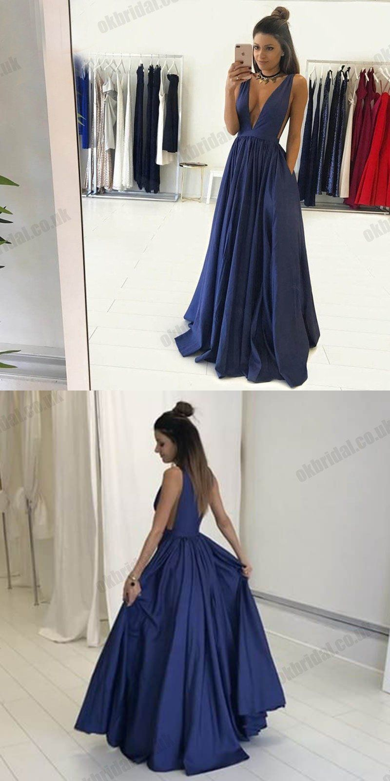 Charming deep vneck prom dresses sleeveless jersey aline backless