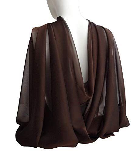 Dark Brown Wide Long Scarf For Women Evening Wrap Formal