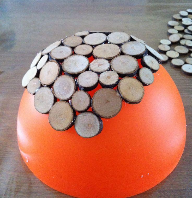 Knutsel een schaal van houtplakjes #holzscheibendeko