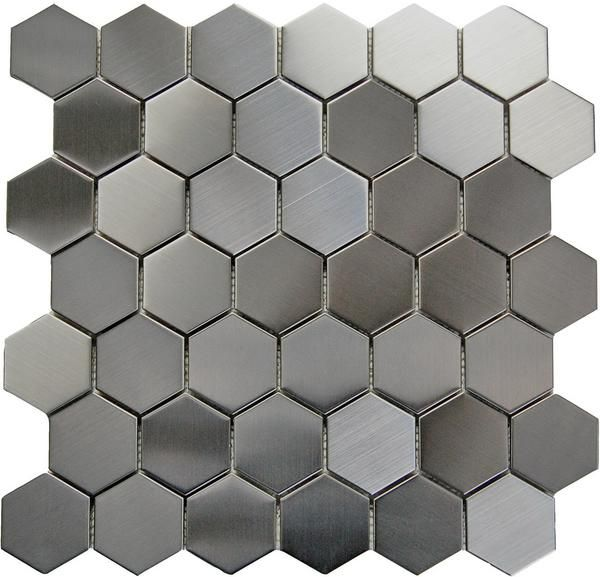 Bro Stainless Steel 2 X2 Hexagon Mosaic On A 12x12 Sheet Metal Mosaic Tiles Hexagonal Mosaic Mosaic Tiles