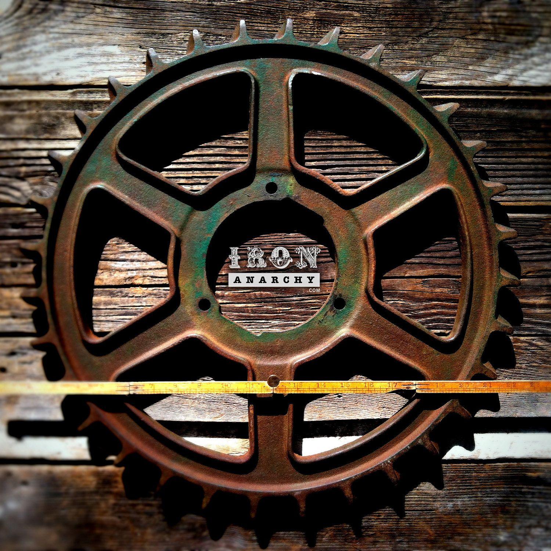 Large Antique Industrial Gear Vintage Cast Iron Metal Wheel