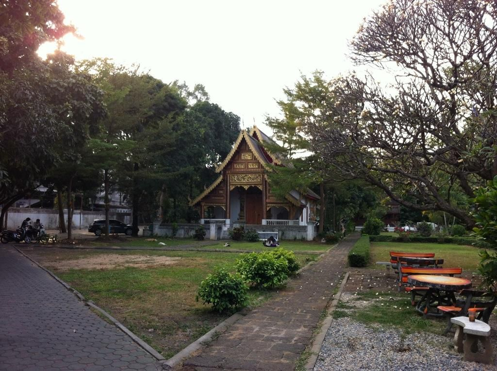 Quiet temple in the sunset in Chiang Mai