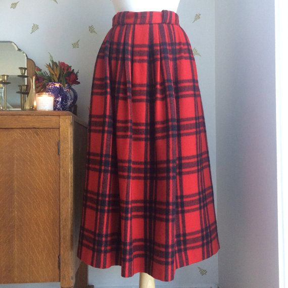 2a6d438bf Vintage 80's Ralph Lauren Red & Black Plaid Wool Skirt / by Atuel ...
