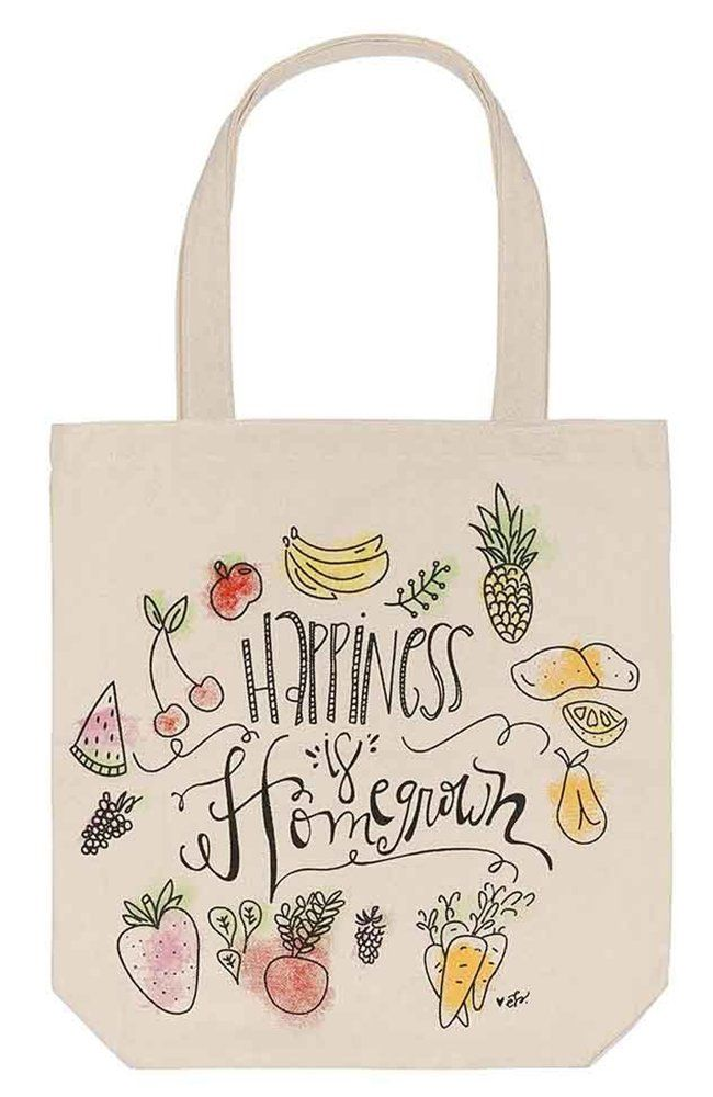 """Happiness is Homegrown"" Canvas Tote Bag"