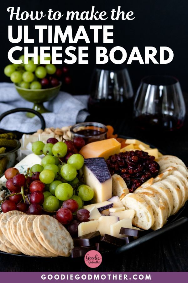 Learn how to assemble the ultimate cheese board without blowing your party budget! You'll get all the tips and tricks you need to put together the perfect cheese board for any size party. Watch the video in the post to see how easy it is to put together! #cheeseboard #partyfood #howtomake #menuideas #cheeseboardideas #cheeseboarddiy @goodiegodmother #partybudgeting