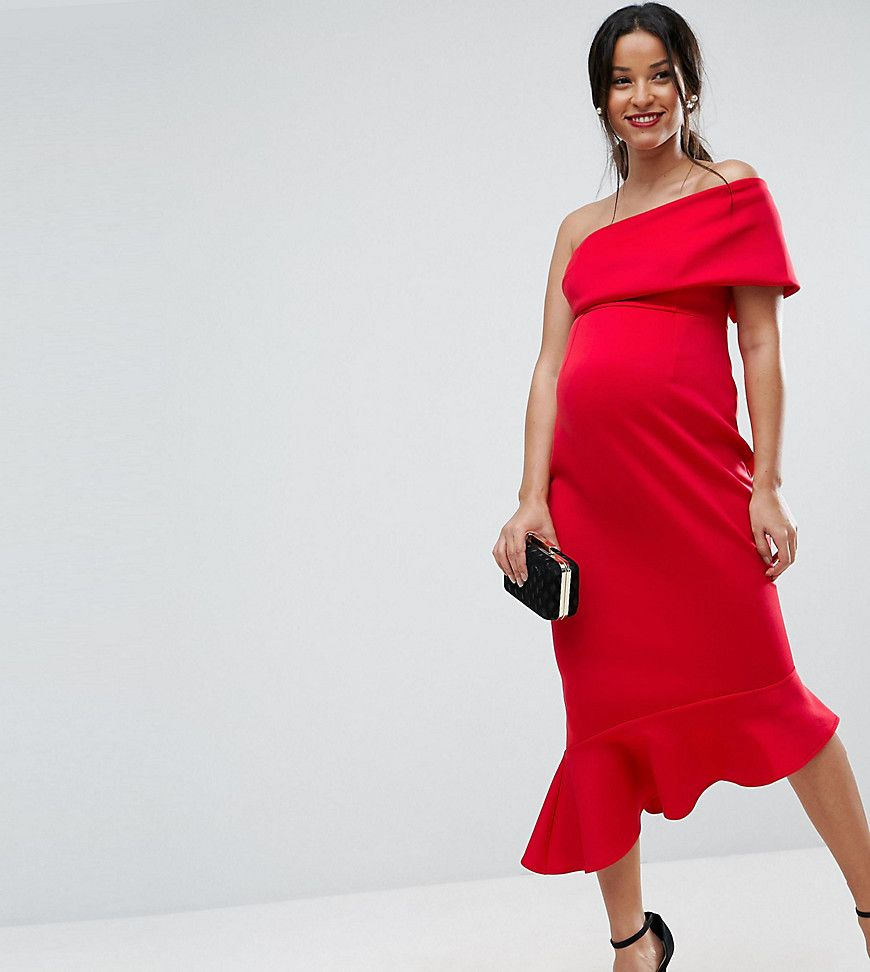 Asos maternity petite scuba one shoulder pephem midi dress red asos maternity one shoulder peplum hem midi dress the perfect holiday dress with style ombrellifo Gallery