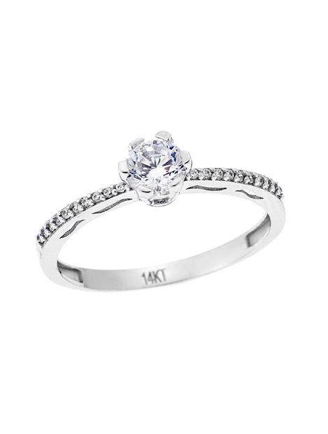 Μονόπετρο Λευκό 14Κ με Ζιργκόν Αναφορά 022809 Δαχτυλίδι γάμου ή αρραβώνα  που μπορείτε να χαρίσετε σε 08122d9a87f