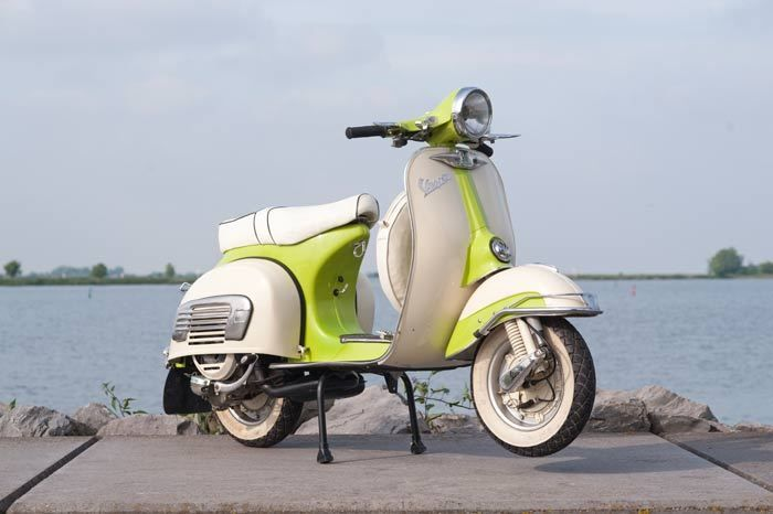 Classic Vespa Scooter From 1972 White Green With Images