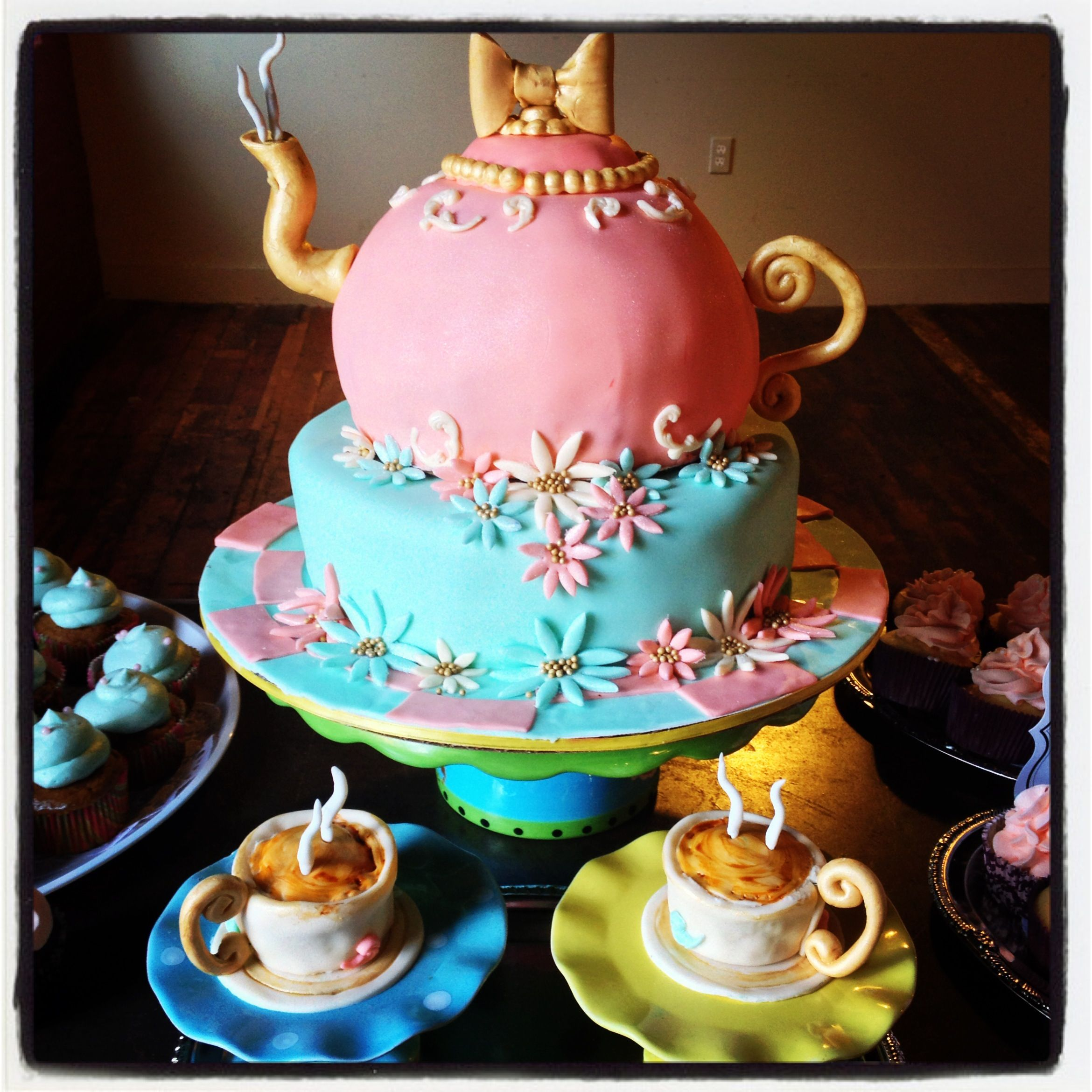 Tea pot cake and tea cup cupcakes | Custom Cakes by Heather ...