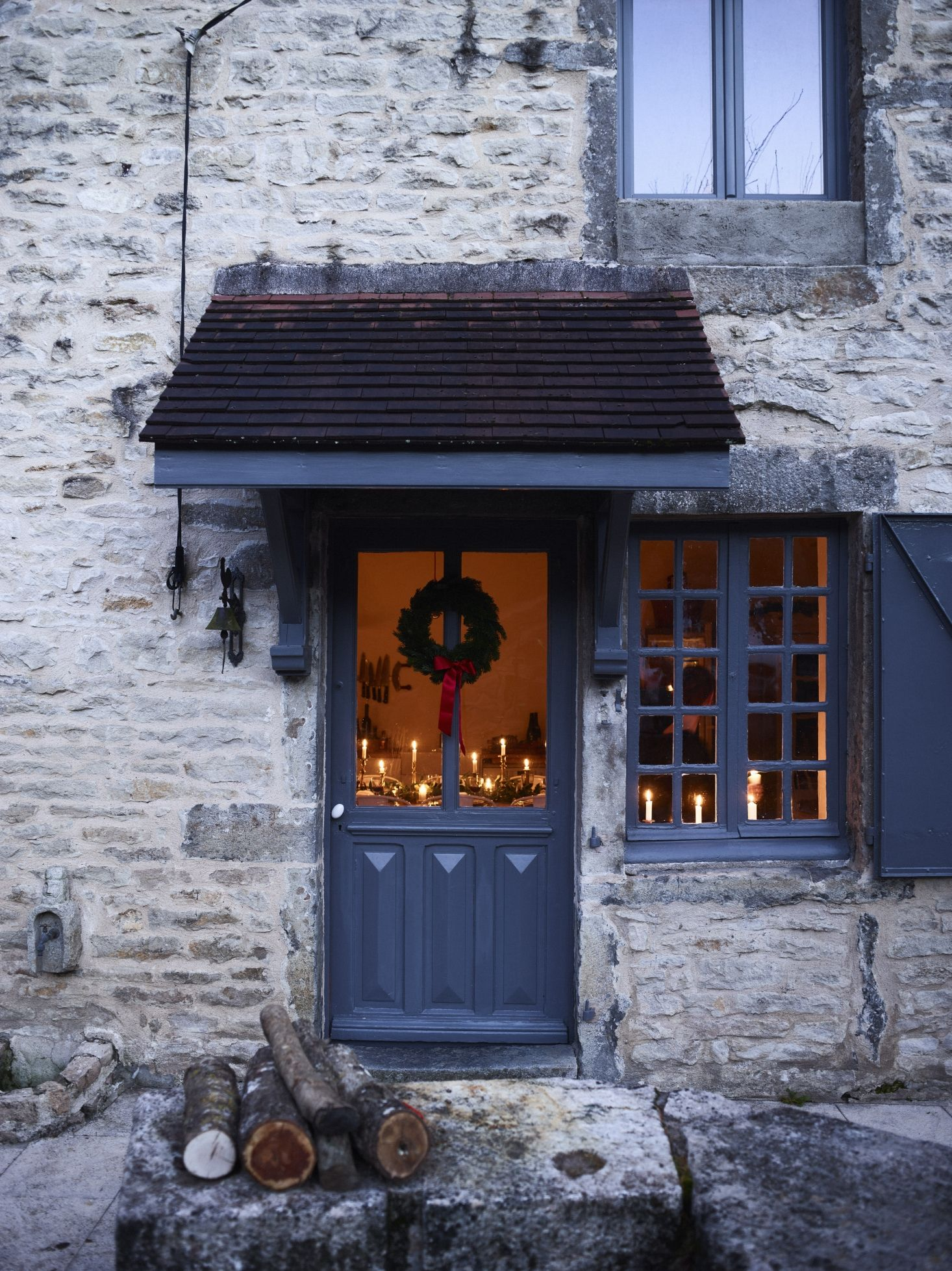 Simple Christmas Decor In Burgundy France With The Cook S Atelier Simple Christmas Decor Old Stone Houses Front Door