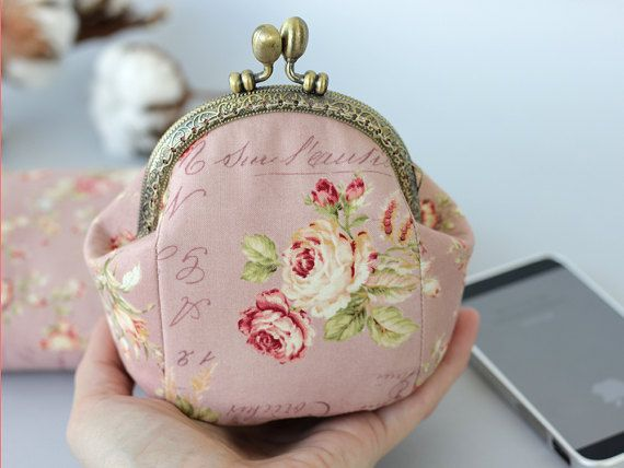 Coin Purse Pink Change Purse Fabric Change Purse Fabric Coin Purse. Change Purse Change Pouch Metal Frame Coin Purse Clasp Pouch