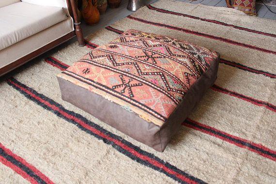 28x28x7 Vintage Kilim Pouf Brown Leather And Kilim Pouf Bohemian