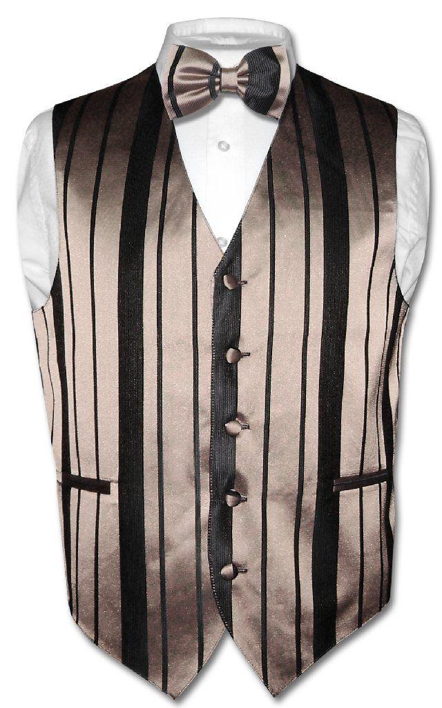 Mens Dress Vest /& Bowtie Gold /& Black Color Woven Striped Design Bow Tie Set