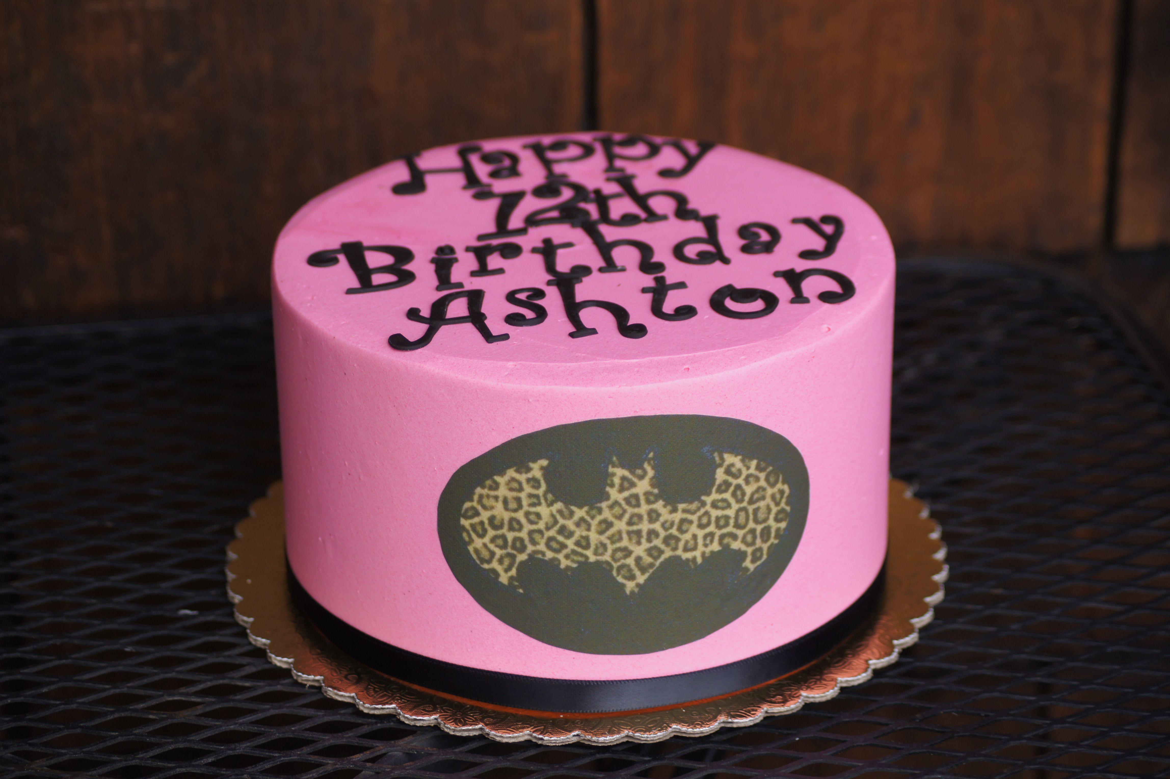 Cake Pink Leopard Print Batman Logo Birthday