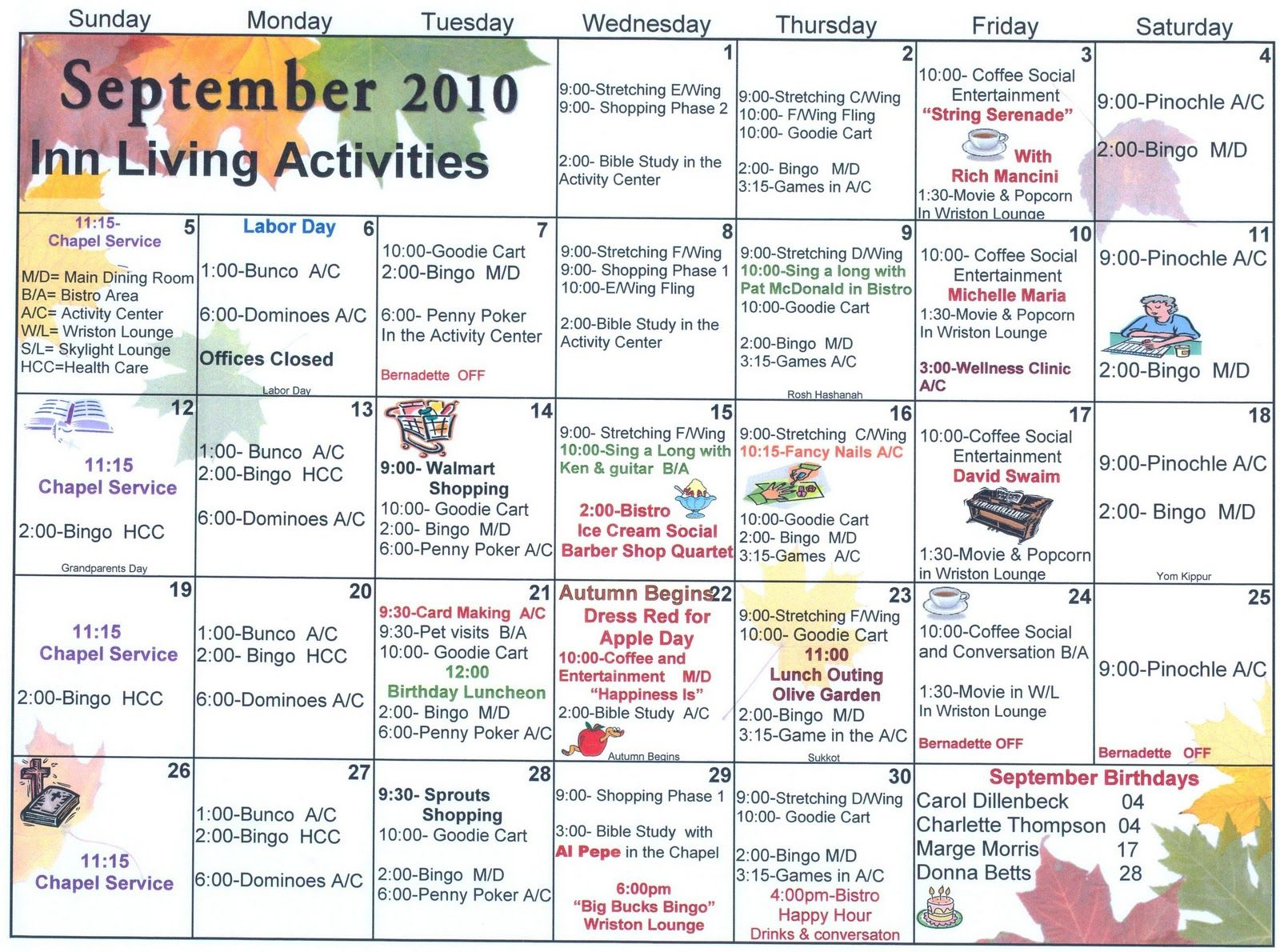 Independent and Assisted Living Activity Calendar Click on Calendar ...
