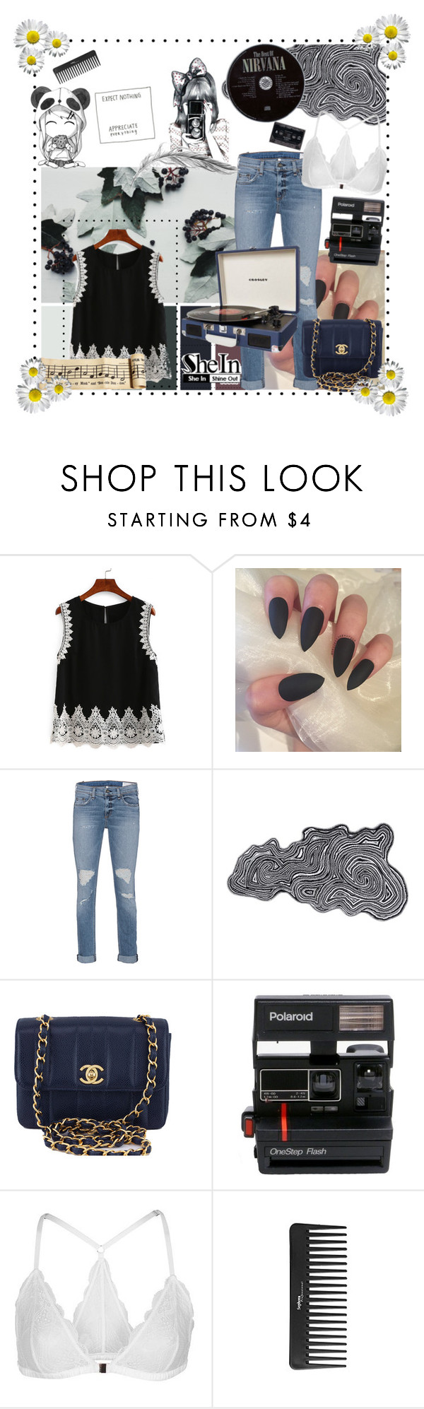 """""""Shein Lace Trimmed Keyhole Black Tank"""" by ac-awesome ❤ liked on Polyvore featuring rag & bone, Abyss & Habidecor, Chanel, Polaroid, Topshop, Sephora Collection and Dot & Bo"""