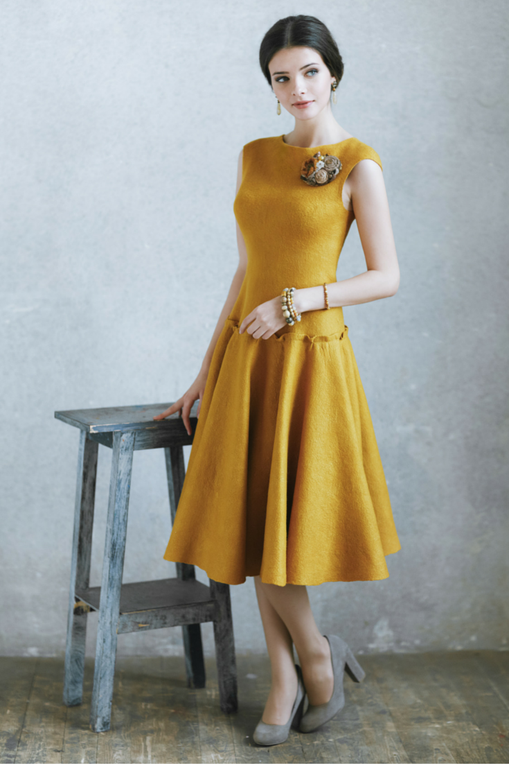 Irina Demchenko - Gorgeous dress made with DHG material. Yellow felted dress.