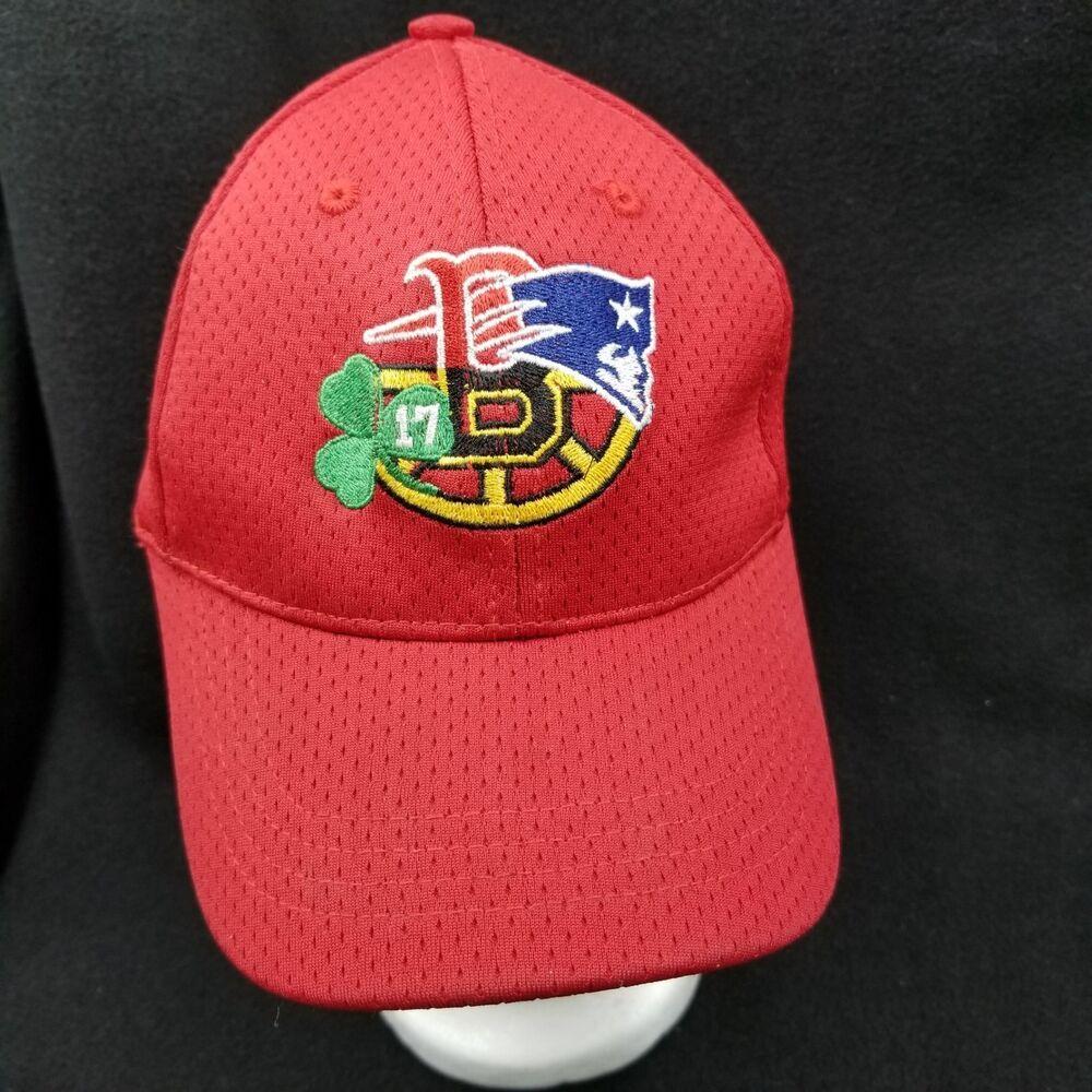 13cfc7ab5 Red Sox New England Patriots Bruins Celtics Champions Cap Hat Red ...