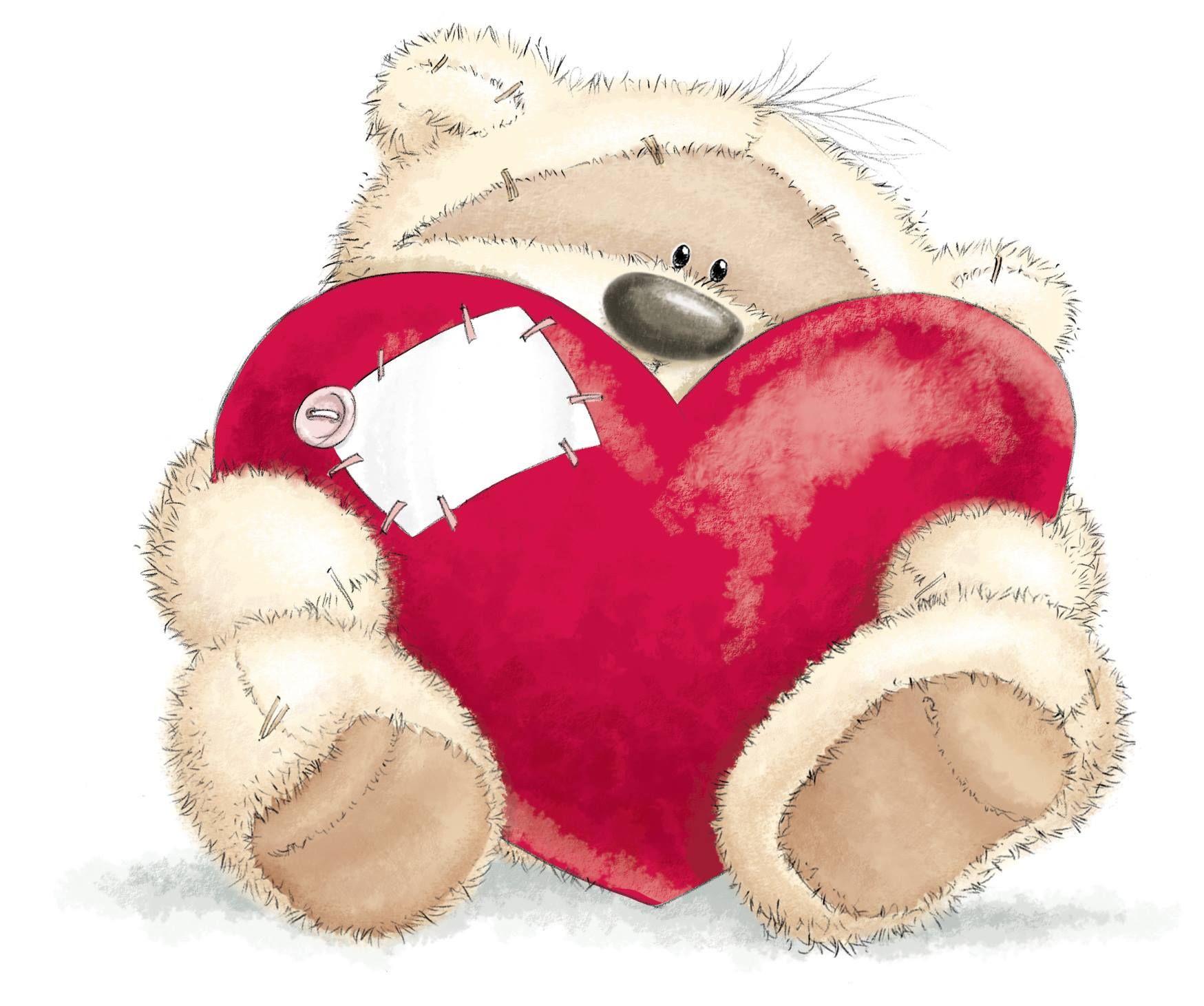 Тебя очень, открытки мишка с сердцем