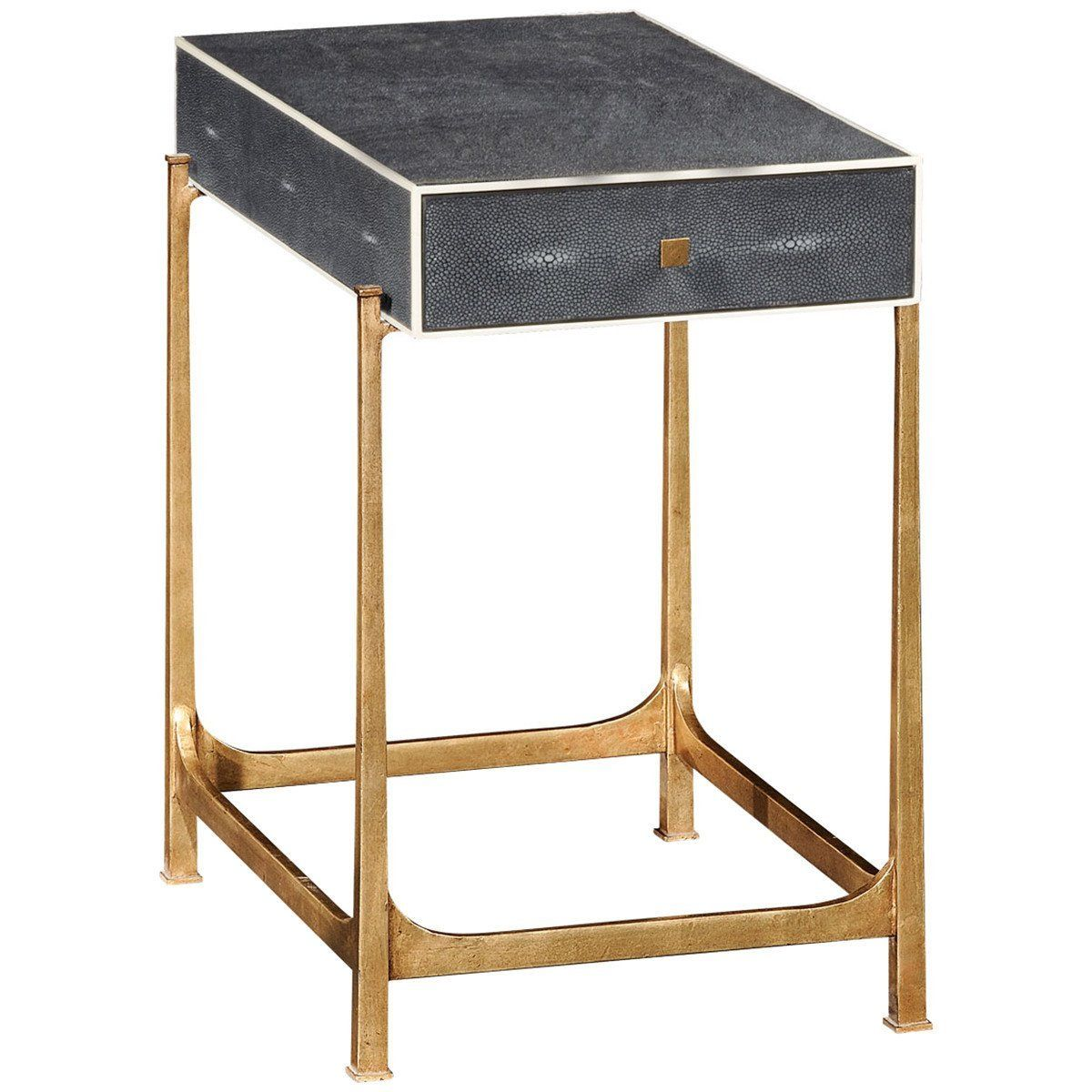 Jonathan Charles Anthracite Faux Shagreen and Iron Side Table is part of Home Accessories Luxury Beverly Hills - Available in Bronze, Gold and Silver  Contemporary styled wrought iron framed sofa table, antiqued gilded finish and the box top with black faux shagreen finish heightened with bone inlay  Inspired by Art Deco luxury furniture of the 1930's  Features Luxe collection Available in bronze, gold, silver finish Box top Materials Iron, Faux Shagreen Dimensions Overall 16 14  w x 26 41  d x 25 07  h Package Volume 0 27 cu ft Actual Weight 52 91 pounds Shipping Weight 52 91 pounds