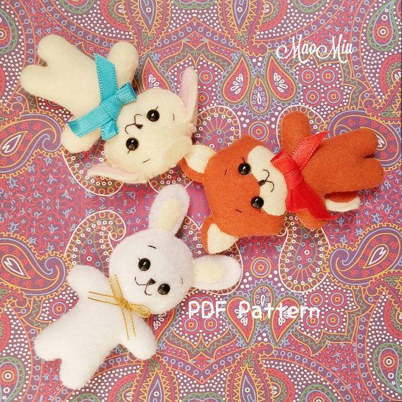 Mini Bunny , Fox and Lamb PDF Pattern - Cute Kawaii Plushie Felt ...