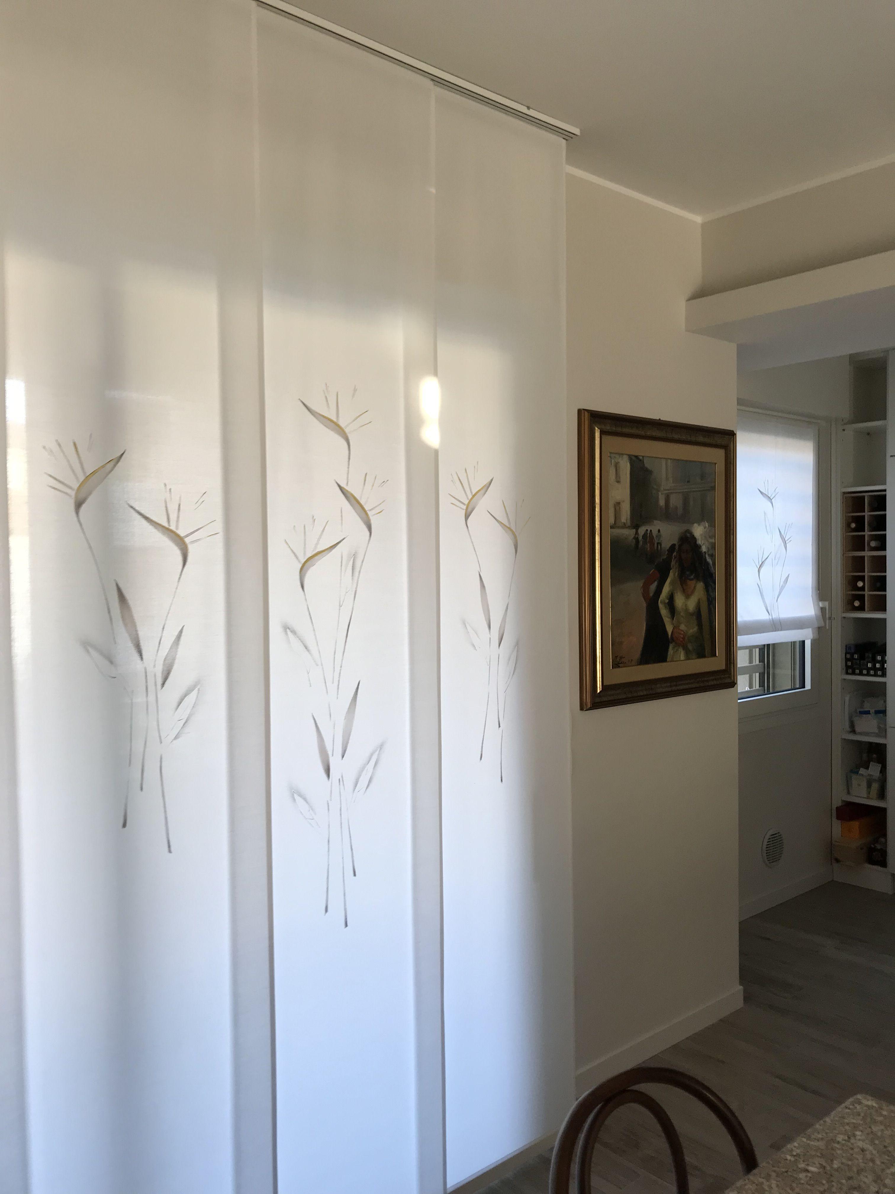 Tende A Pannello In Lino.Pannelli Scorrevoli In Misto Lino Bianco Confezionati Su