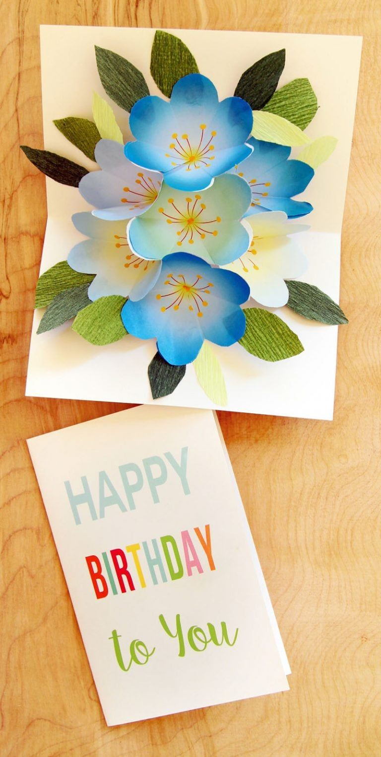 Free Printable Happy Birthday Card With Pop Up Bouquet Happy Birthday Cards Printable Free Birthday Card Pop Up Card Templates