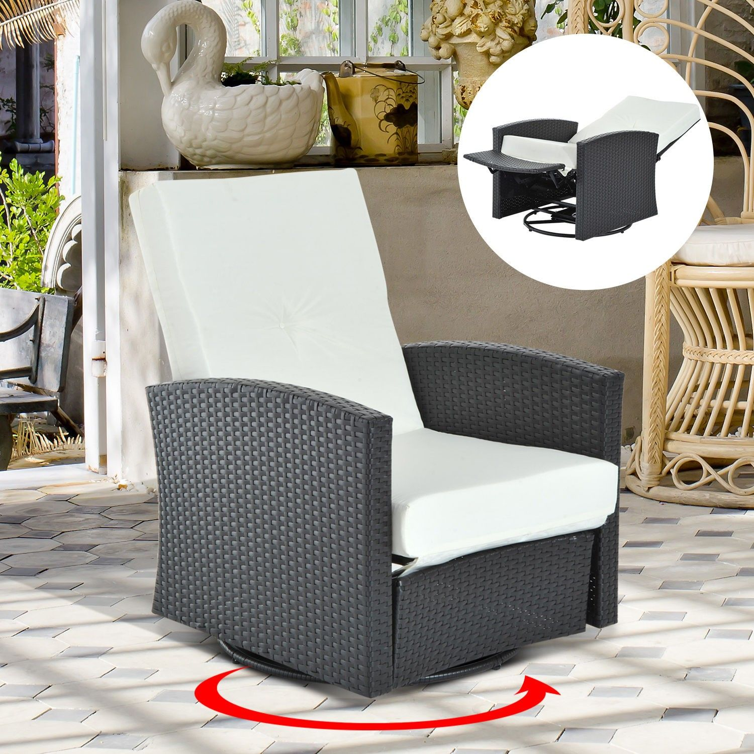 outsunny rattan wicker swivel outdoor recliner lounge chair