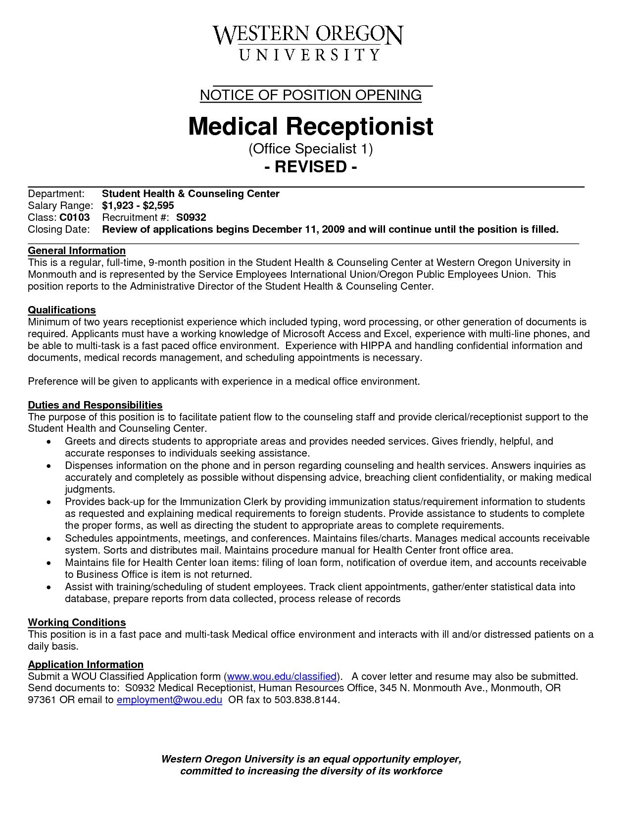 Medical Office Front Desk Receptionist Job Description