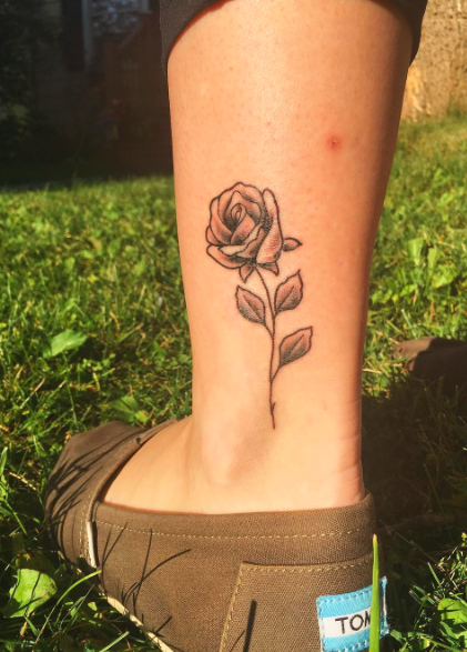 Shaded Rose Flower Tattoo On Left Ankle Small Tattoos Rose Flower Tattoos Tattoos