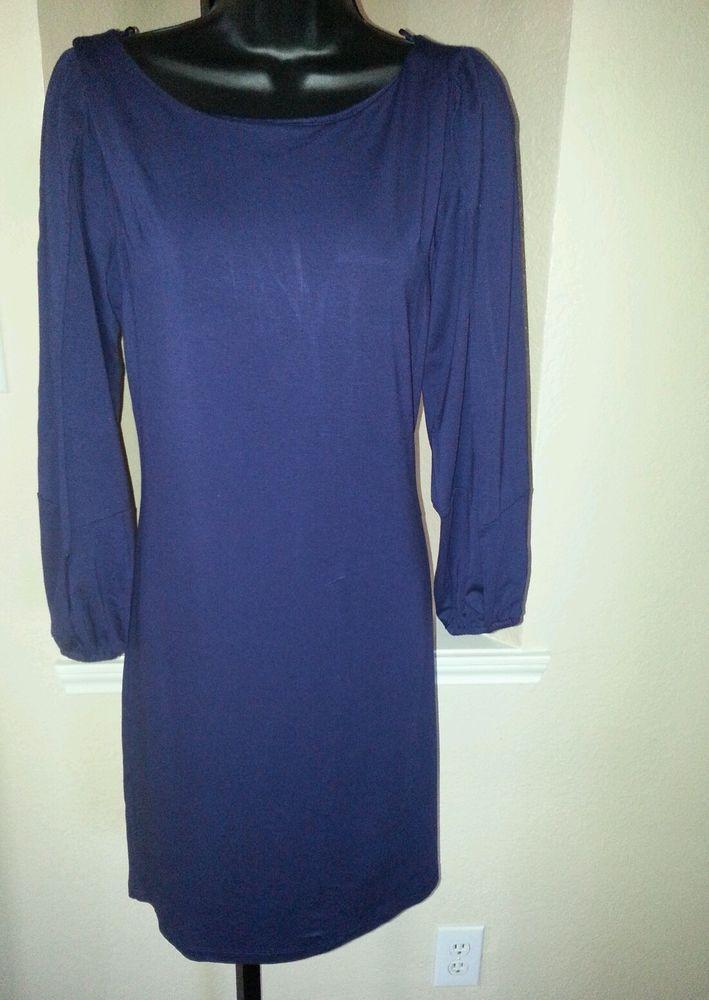 *NWT* CYNTHIA ROWLEY Blue Purple Jersey Knit Open Slit Long Sleeves Dress Sz M #Dress #Fashion #Deal