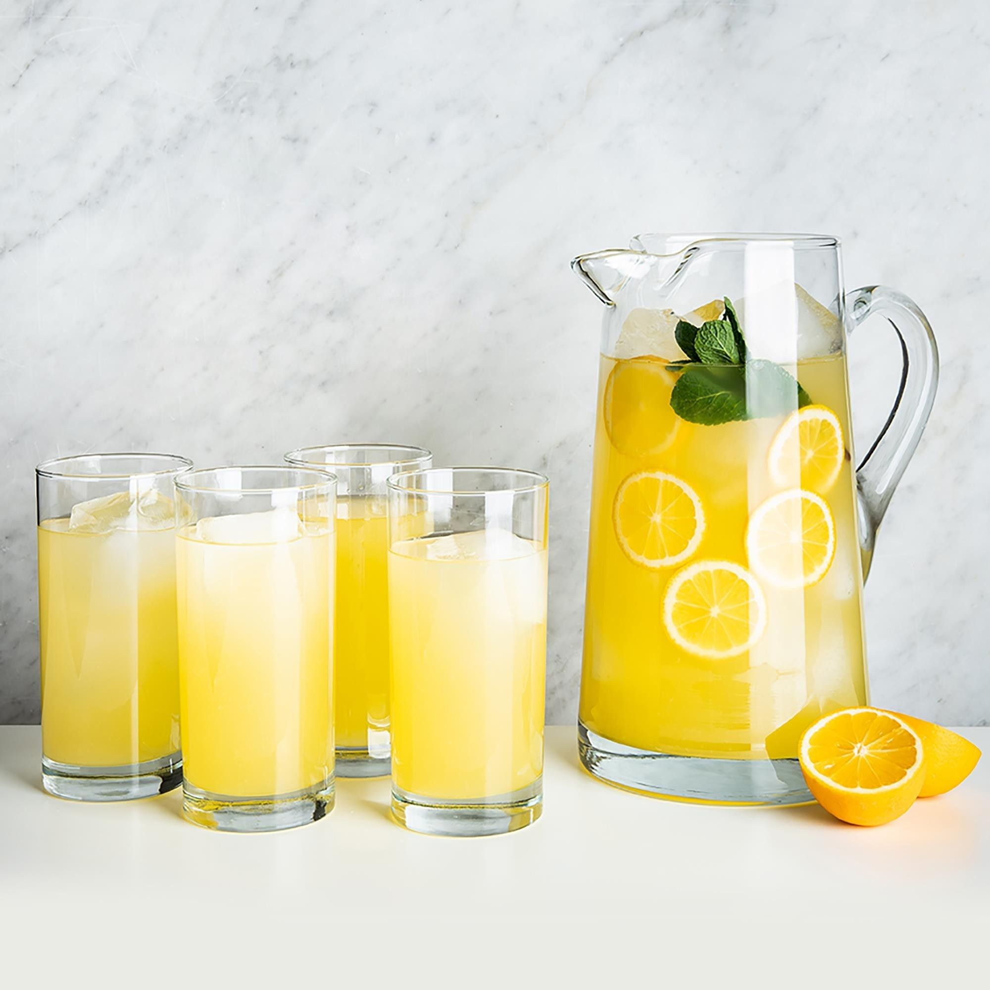 Libbey Lemonade Glass Pitcher With Glasses