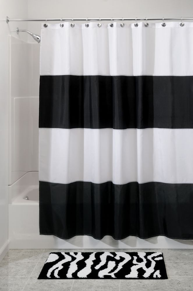 This Will Look Good With Our Black And White Checkered Bathroom Floor White Shower Curtain Modern Shower Curtains Striped Shower Curtains