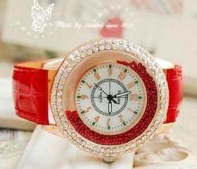 ± FREE SHIP ± Fashion Gogoey Band Leather Strap Ladies Quartz Wrist Watch Women Dress Rhinestone Watches